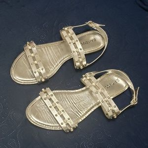 Silver double strap pearl sandals by Bamboo.